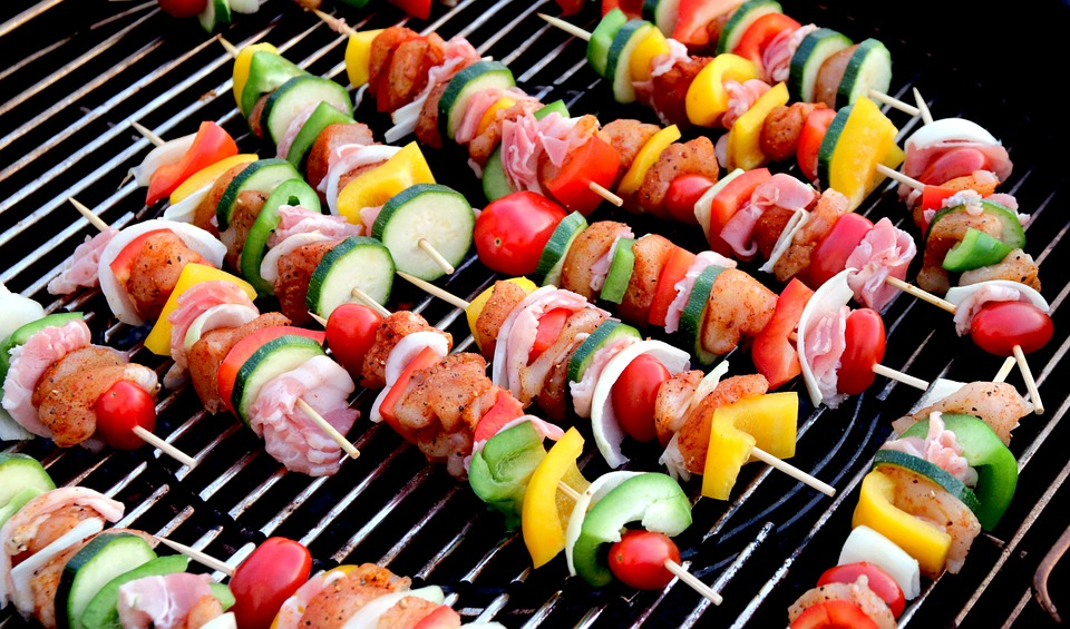 Kebabs cooking on an electric grill