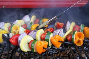 Grilling kebabs on the Easy Street Electric Tabletop Grill
